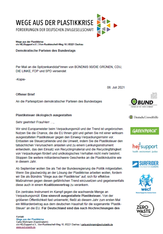Offener Brief: Plastiksteuer ökologisch ausgestalten