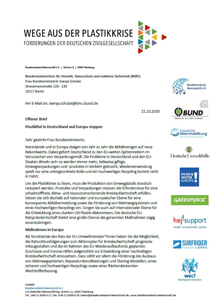 Offener Brief: Plastikflut in Deutschland und Europa stoppen